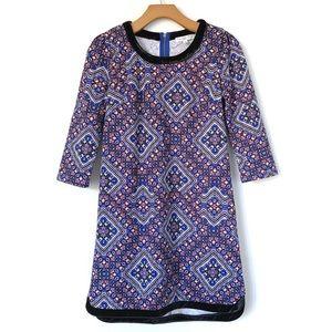 Love, Fire   Velvet Trim Print Shift Dress Tunic